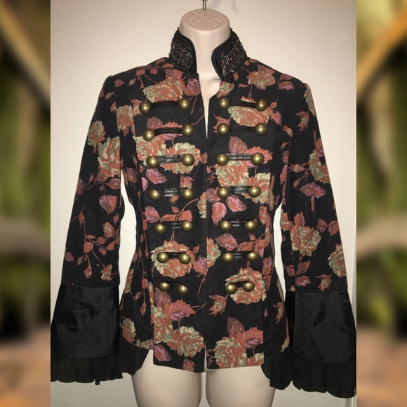 Newport News Jackets Coats Reserved Floral Military Style Jkt